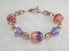 Lavander, peach and pink bracelet