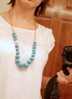 Spray paint wood beads for this knock off Express necklace.