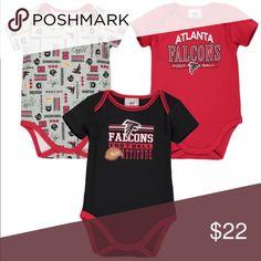 Girls Newborn Atlanta Falcons Gray 3-Pack Field Goal Bodysuit Set
