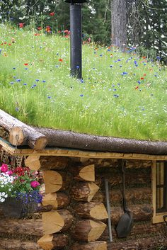 Imagine a roof filled with wildflowers.Fairbanks cabin with sod roof Natural Building, Green Building, Earth Sheltered Homes, Living Roofs, Living Walls, Cabins And Cottages, Log Cabins, Underground Homes, Earth Homes