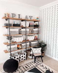 Are you growing out of the nursery phase? 👶➡👦👧 Head to our sister page, @projectjunior for ALL the big kid room ideas + inspo you can handle! How amazing is this open-shelving in the playroom by @roostonrodgers? Playroom Shelves, Playroom Wall Decor, Playroom Ideas, Baby Shoe Storage, Nursery Storage, Nursery Layout, Multifunctional Furniture, Drawer Dividers, Cool Rooms
