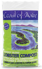 Organic Maine lobster compost; mix 50/50 with soil - good for tomatoes, roses, lilacs.