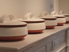 Paul Eshelman Casseroles, shown in our gallery at The Society of Arts and Crafts, 175 Newbury St in Boston, at the January show, The Theater of Repetition: Slipcast Ceramics