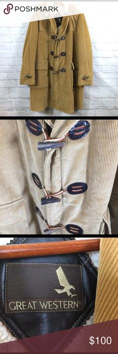 Great Western corduroy men's 46R coat vtg cowboy Gently used, just back from the dry cleaner, length 38, put to pit 24, detachable hood Great Western Jackets & Coats