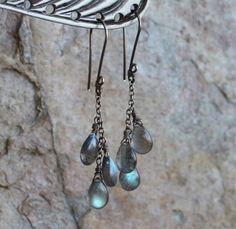 LABRADORITE earrings, Labradorite briolette earrings, blue flash, sterling silver. via Etsy.