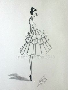 Fashion Illustration 1950s Ruffle Party Dress by LinearFashions, $42.00.