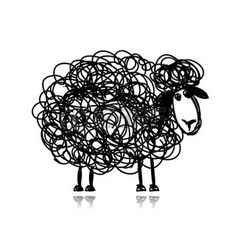 Illustration of Funny black sheep, sketch for your design vector art, clipart and stock vectors. Black Sheep Tattoo, Noir Tattoo, Sheep Drawing, Sheep Illustration, Funny Sheep, Sheep Art, Doodle Drawings, Clipart, Royalty Free Images