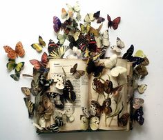 WHO: Louise Richardson WHY: i like how the butterflys come off of the book Book Crafts, Arts And Crafts, Paper Crafts, Libros Pop-up, Altered Book Art, Magazine Crafts, Butterfly Art, Butterflies, Book Sculpture