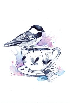 Illustration Tea Cup Bird III (Print) by Marie-Eve Arpin - Art. Print of the artwork Tea Cup Bird III. Little bird on its cup of tea. The print is signed and carefully inserted in a poly-type envelope with rigid cardboard. x 11 inches. Art And Illustration, Vogel Illustration, Tee Kunst, Tea Cup Drawing, Cup Tattoo, Cup Of Tea Tattoo, Tattoo Bird, Tea Cup Art, Travel Drawing