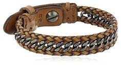 "Fossil ""Sun Up Sun Down"" Men's Leather and Chain Bracelet..."