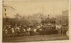 A very rare Carte de Visite capturing Abraham Lincoln's funeral train/carriage in Washington on April 21, 1865. (s)