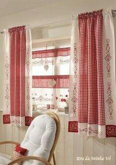 Interior: Endearing Linen Drapes With Curtain Rod For . Exclusive Curtains Swags Swag Curtains For Large Windows . Home and Family Cortinas Country, Rideaux Shabby Chic, Rideaux Design, Diy Design, Interior Design, Modern Interior, Design Ideas, Kitchen Window Treatments, Red Cottage