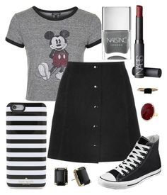 """Schoolgirl"" by kk-purpleprincess ❤ liked on Polyvore featuring Topshop, Converse, Kate Spade, NARS Cosmetics, LUMO and Nails Inc."