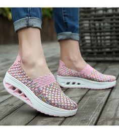 Women's #pink slip on #rocker bottom sole shoe sneakers check pattern design, Round toe, casual, leisure occasions.