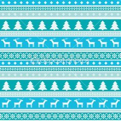 Winter pattern with christmas trees and deers