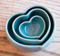 Blue Heart Nesting Bowls