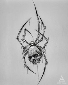 No photo description available. Skull Tattoo Design, Tattoo Design Drawings, Tattoo Sketches, Creepy Drawings, Dark Art Drawings, Skull Drawings, Gothic Tattoo, Dark Tattoo, Spider Drawing