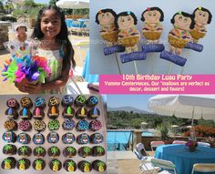 Luau birthday party centerpieces and favors #luau #hawaiian #centerpieces #marshmallows #pops #favors