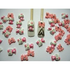 Nail Art 3d 40 Pieces Mix Pink Hello Kitty/Bow for Nails, Cellphones 1.3cm*.9cm $5