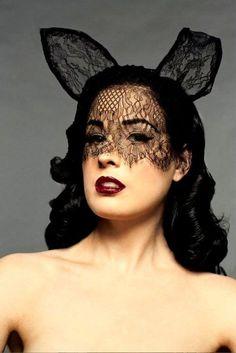 "Dita wearing ""Bunny Ears"" hat mask by Maison Michele. #millinery #judithm #lace"