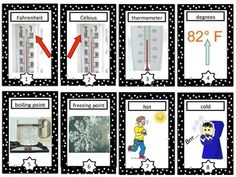 Temperature Vocabulary Cards and Word Wall - This is a set of 8 temperature vocabulary cards that make a great addition to a primary unit on temperature or measurement.