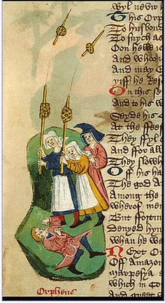 Miniature of Orpheus lying on his back, protesting himself from Thracian women armed with spindles and distaffs. England, S. E. (probably Suffolk, possibly Bury St Edmunds) c. 1450 - c. 1460