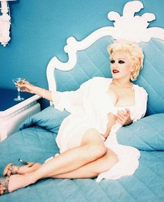 This Could Be Me :),....In A Perfectly Celestial Blue-Marie Antoinette-Esque- Hollywood-Regency Starlet- Chic Boudoir.