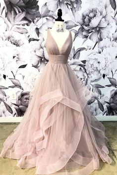 Champagne v neck tulle long prom dress, champagne evening dress