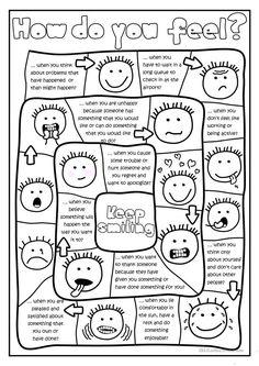 - board game worksheet - Free ESL printable worksheets made by . - board game worksheet - Free ESL printable worksheets made by teachers Feelings Activities, Counseling Activities, Therapy Activities, Articulation Activities, Feelings Games, Social Skills Activities, Social Games, Preschool Activities, Worksheets For Kids