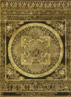 Black Mandala of Shakyamuni Buddha Tibetan Mandala, Tibetan Art, Tibetan Buddhism, Buddha Buddhism, Thangka Painting, Mandala Painting, Peace Painting, Acid Art, Buddhist Philosophy