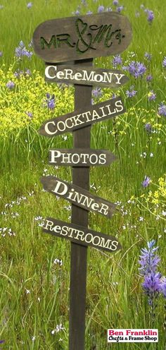 DIY Directional Signs for Weddings. Supplies available at our Ben Franklin Crafts store in Monroe, WA. Directional Signs, Garden Markers, Herb Garden, Rafting, Craft Stores, Wedding Signs, Craft Supplies, Wedding Planning, Herbs