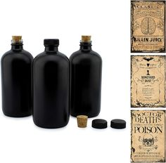 Cornucopia Brands Black 16-Ounce Glass Apothecary Bottles (3-Pack)...