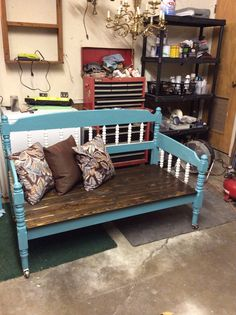 Headboard bench on casters.