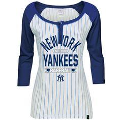 New York Yankees Women's 3/4 Sleeve Pinstripe Raglan by 5th & Ocean - MLB.com Shop