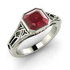 Emerald-Cut Ruby  Solitaire Ring in 14k White Gold