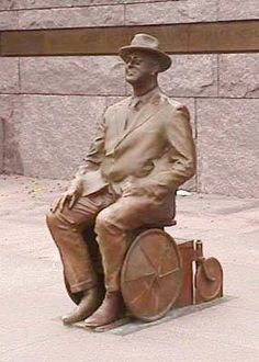 Statue in the FDR Memorial of Franklin Delano Roosevelt sitting in a wheelchair....Great Respect and Admiration for Franklin D. Roosevelt!