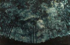 Leo Plaw Original Oil Painting Trees XII Night Stars | eBay
