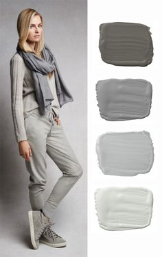 Celebrating Fall 2015 fashion with Ralph Lauren Paint's soft gray hues: Mercer, Gray Coat, Saltaire and Silversmith