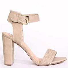 Summer Date Chunky Heels ($27) ❤ liked on Polyvore featuring shoes, light taupe, lightweight shoes, grip shoes, ankle tie shoes, thick heel shoes and synthetic leather shoes