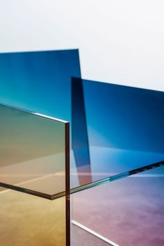 The Ombré chairs – which were shown at Spazio Rossana Orlandi during Milan design week – are assembled from panes of glass, joined together without screws or other visible fittings.