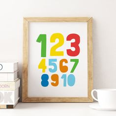 Printable Art: 1-10 Numbers, Colourful Nursery Art, Kids Room Decor, Numbers Wall Art, Playroom Print, Kids Wall Art *Instant Download* Nursery Decals, Nursery Wall Decor, Nursery Art, Wall Art Decor, Room Decor, Kids Room Art, Art Wall Kids, Art For Kids, Printing Websites