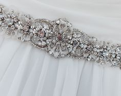 Crystal Hand Beaded Bridal Sash-Wedding Sash In by AGoddessDivine