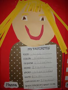 idea for beginning of year, have students and parents fill out their favorites. Do the self portrait if time, or on first day. All About Me Crafts, All About Me Preschool, All About Me Activities, Preschool Activities, First Day Of School Activities Ks1, All About Me Eyfs, All About Me Art, 1st Day Of School, Summer School