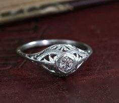 Antique 18k Edwardian Filigree Engagement Ring, Floral Basket Setting, Clean Sparkling Brilliant Cut Ethical Conflict Free Diamond Ring