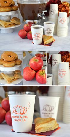 Warm up your fall wedding reception guests with coffee, cocoa or spiced cider. Serve your hot beverages in disposable 12 ounce paper drink cups personalized with a autumn theme design, the bride and groom's name and wedding date on one side and a heart-felt thank you message on the other side. These cups can be ordered at http://myweddingreceptionideas.com/12-oz-fall-personalized-paper-cups.asp