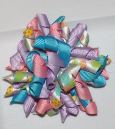 Easter Bow with Purple Pink Teal and Easter Egg by bowsforme, $6.99