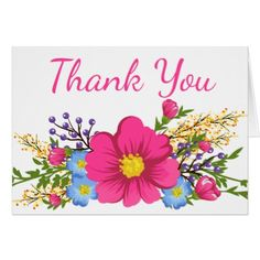 #wedding #thankyoucards - #Floral Pink Thank You Watercolor Flowers Wedding Card