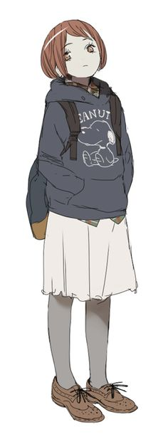 Another casual style or outfit for a primary school student. I'd like to use this one for my next work. Cx