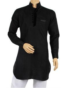 Black linen casual pathani kurta | G3-MSP0042