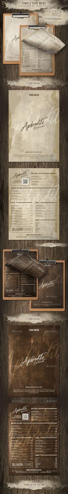 Simple Retro A4 and US Letter Menu (2 Color) - Food Menus Print Templates